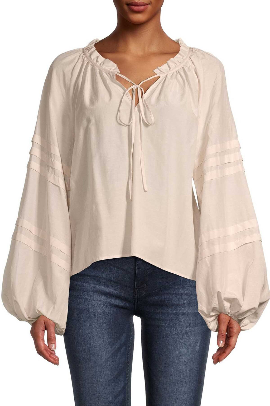 V-Neck Peasant Blouse