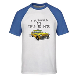 T-Shirt New-York Taxi Baseball Bleu
