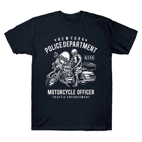 T-Shirt New-York Policier en Moto | Le Coin du New-Yorkais