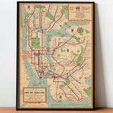 Tableau New-York Carte de Métro Vintage