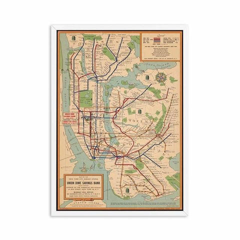 Tableau New-York Carte de Métro Vintage | Le Coin du New-Yorkais