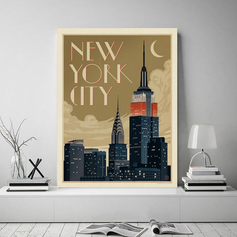 Tableau New-York Empire State Building Cartoon | Le Coin du New-Yorkais