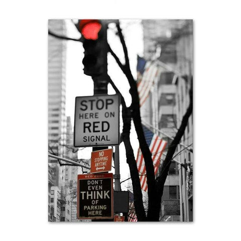 Tableau New-York Feu Rouge | Le Coin du New-Yorkais