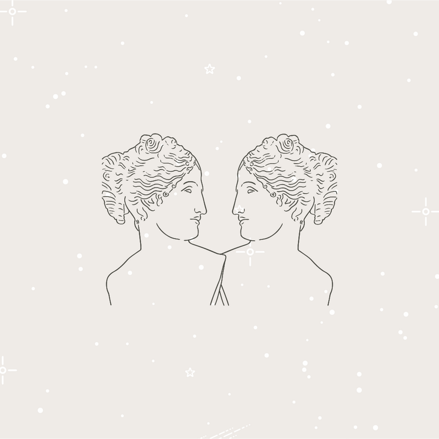 Minimal graphic image, line drawing graphic of two women looking at each other. Represent seeking communication and connection of self or with another..