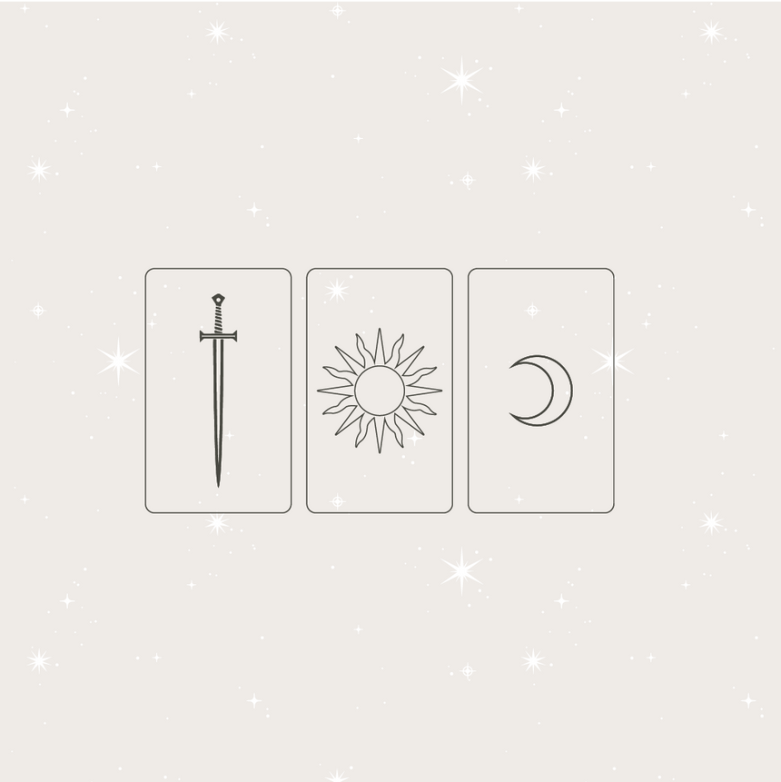 Minimal graphic image of 3 simple designed tarot cards. The first card is simple an outline of a card shape with a sword icon, the second with a sun icon, and the third card has a moon icon. Representing 3 cards of a tarot deck.