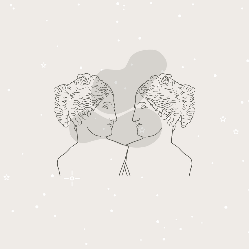 Minimal graphic image, line drawing graphic of two women (roman statue style) looking at each other with subtle stars in the background. Represents seeking communication and connection of self or with another.