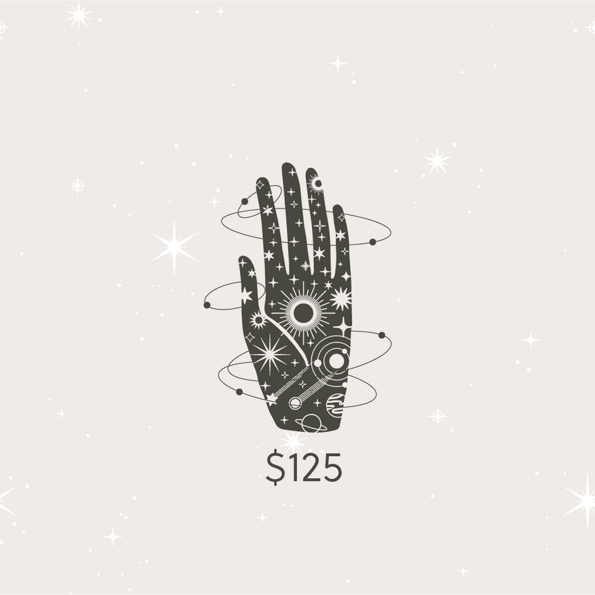 Image of the Cards & Stars Brand image of the hand with celestial pattern on the palm and orbits around it, floating in a background of subtle stars. Representing the Gift Card product.