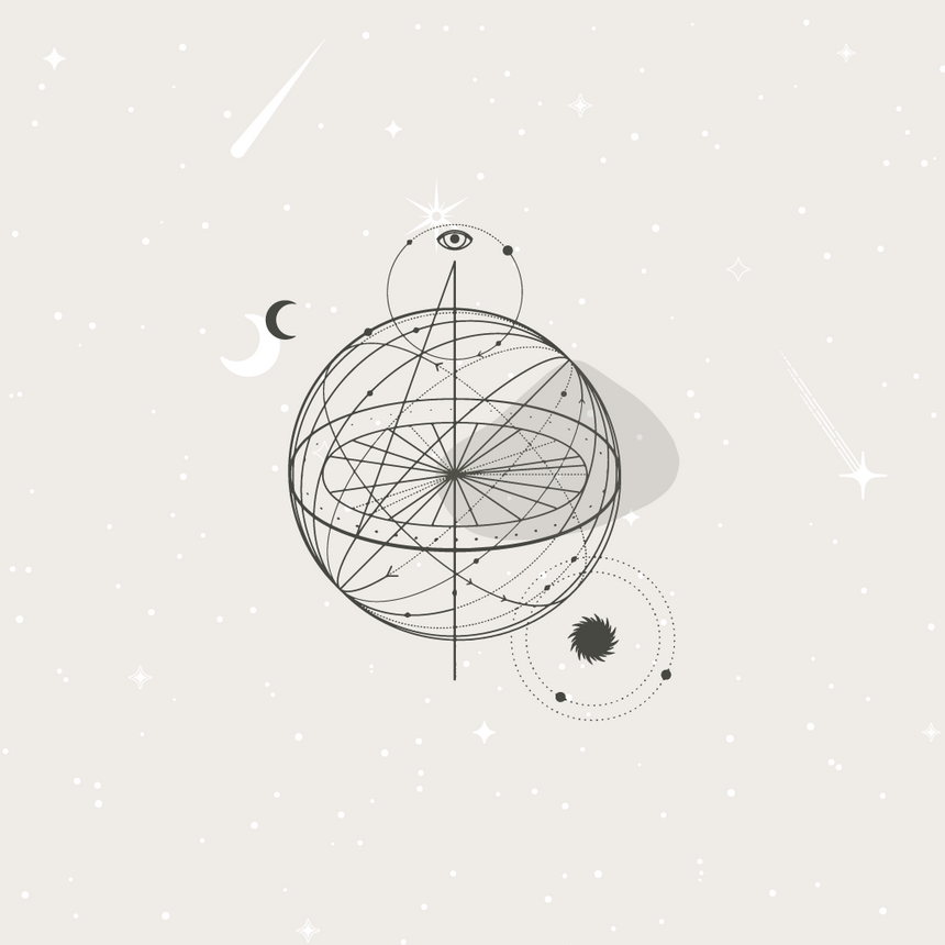 Minimal graphic image of a simple line graphic of a globe with orbits going around it. An eye is on the top and moon on the side and another orbit below right. Representing a global world with celestial bodies surrounding it.