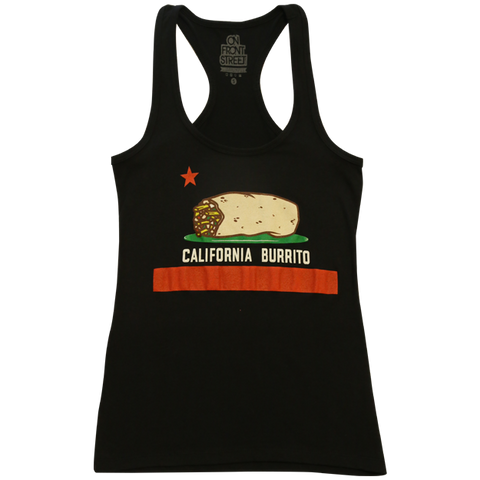 California Burrito Ladies Black Racerback Tank