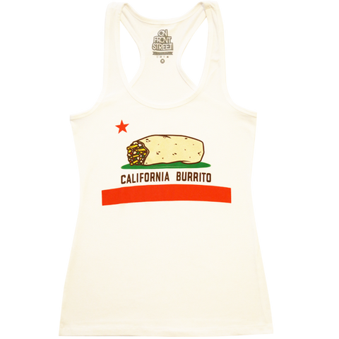 Ladies California Burrito White Racerback Tank