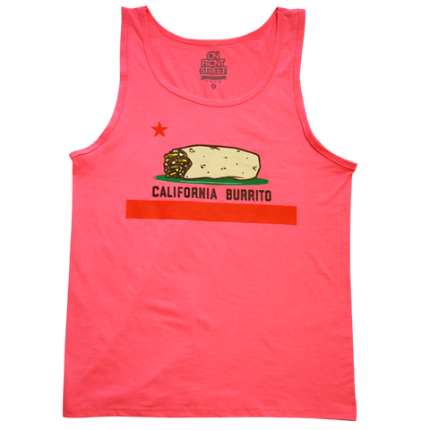 California Burrito Mens Neon Pink Tank Top