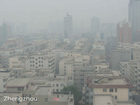 Skyline of city with heavy air pollution.