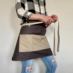 Apron for gardening, cooking and working around the house.