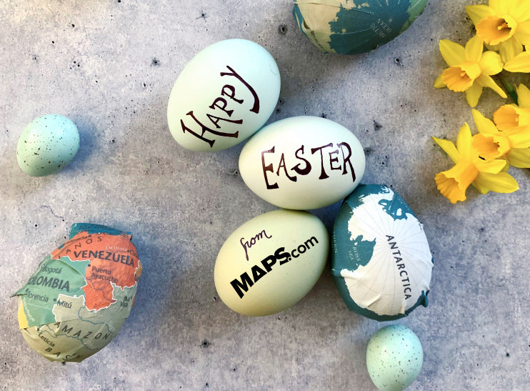 Maps on Easter Eggs, with a message: Happy Easter from Maps.com!