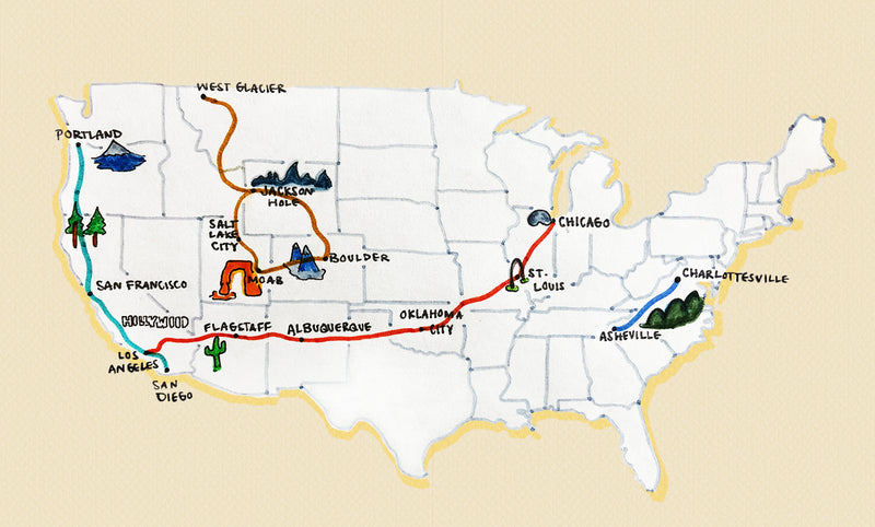 An illustrated map showing four roadtrips: Pacific Coast Highway, Route 66, Blue Ridge Parkway, and a route linking together a few National Parks in Colorado, Utah, and Montana.