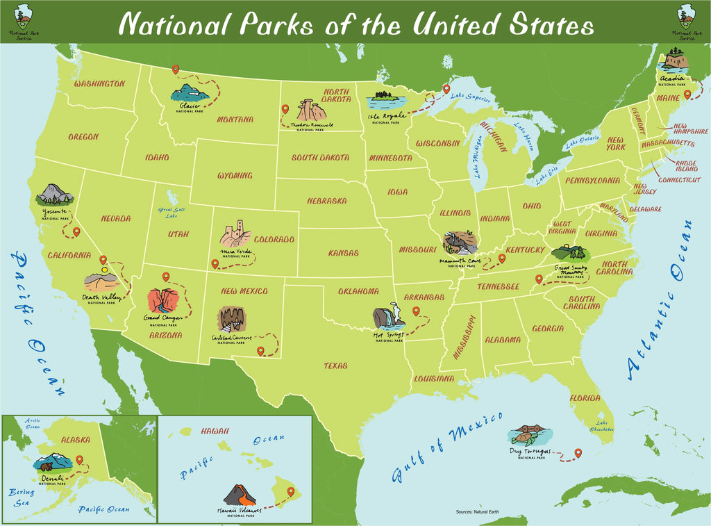 Map of 15 Popular National Parks in the U.S.
