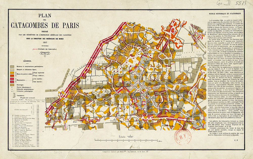 A map of the 1857 plan for the Paris Catacombs