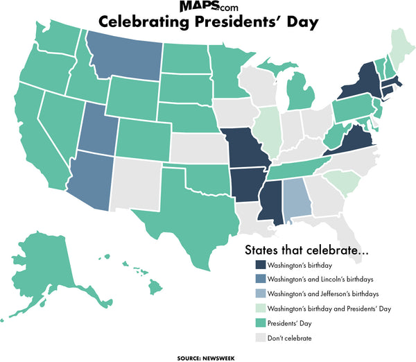 A map of who celebrates what on Presidents' Day