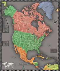 North American Contemporary Wall Map