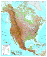 North America Wall Map, Physical