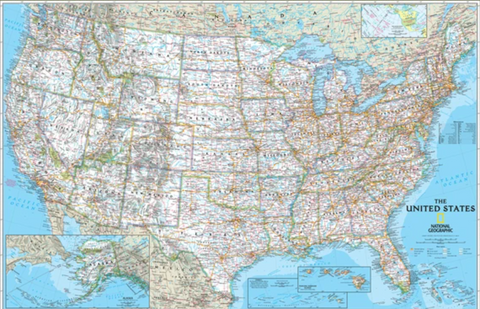 National Geographic Classic USA Wall Map