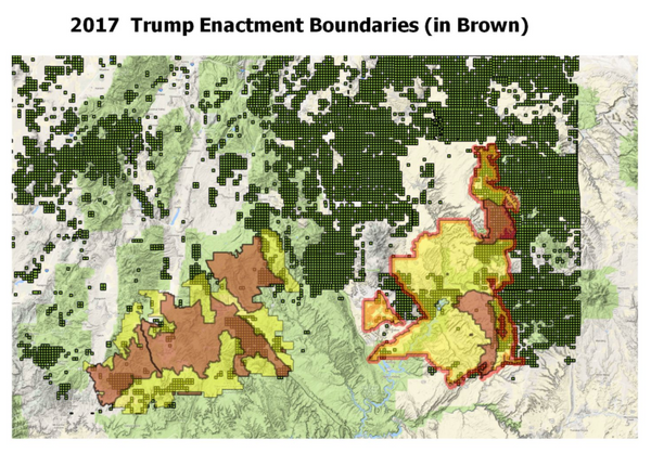 Map of Trump's Boundaries of the Bears Ears National Monument