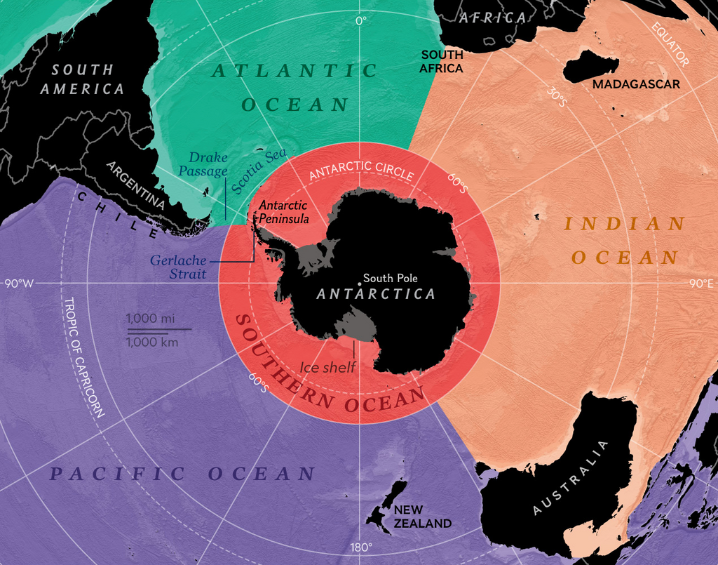 National Geographic map showing the extent of the Southern Ocean