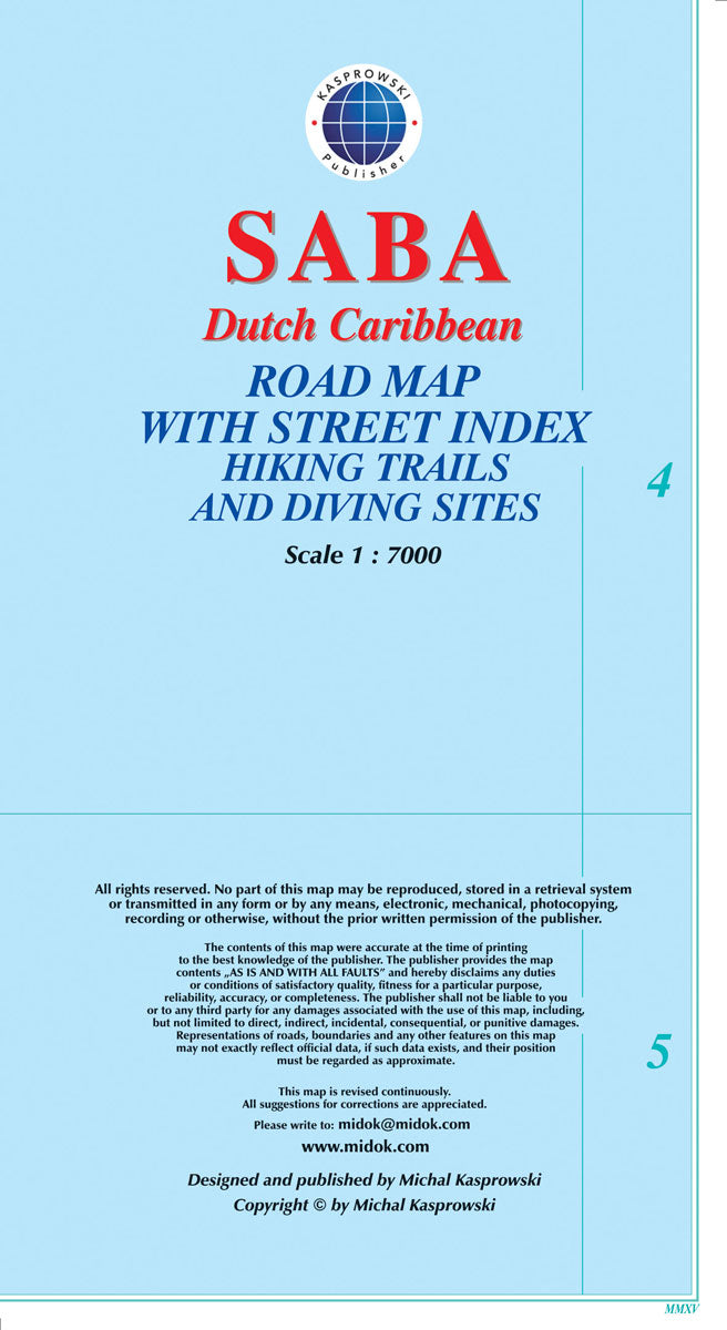 Saba, Dutch Caribbean, Road Map by Kasprowski Publisher