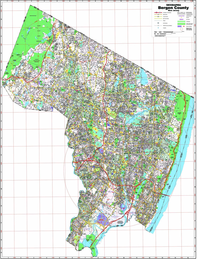 Bergen County, NJ Wall Map
