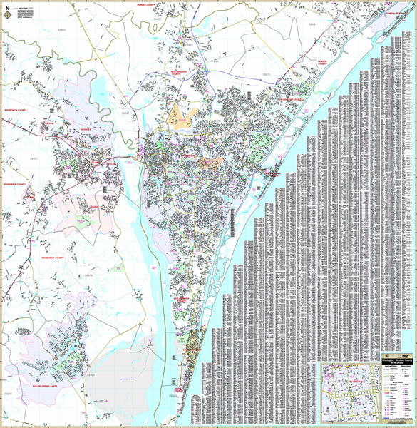 Wilmington & New Hanover Co, NC Wall Map