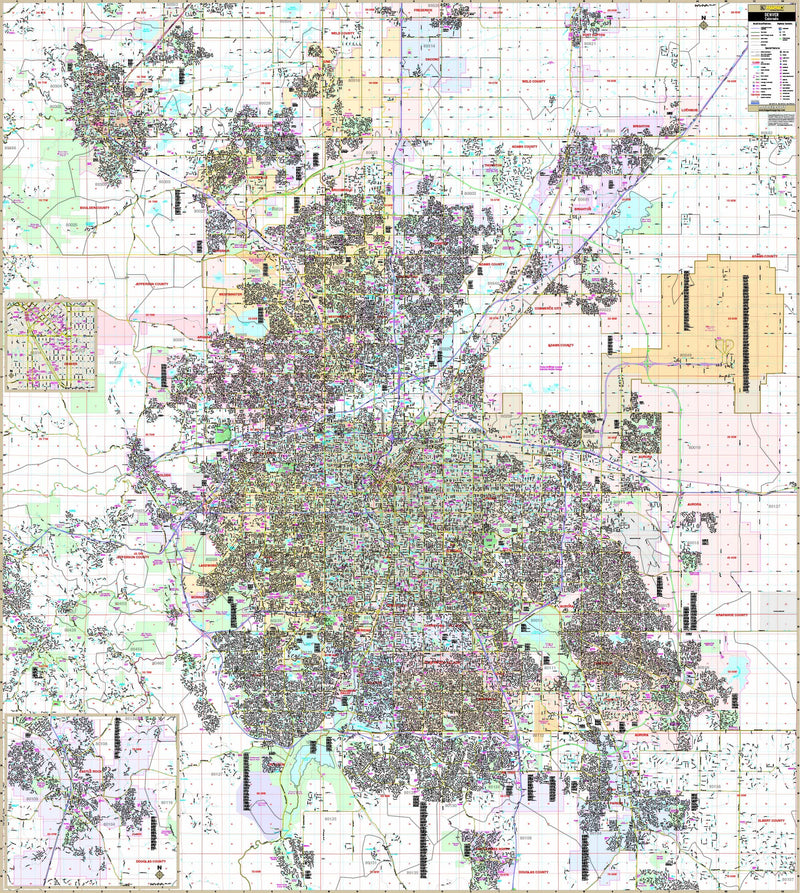 Denver, CO Metro Area Wall Map