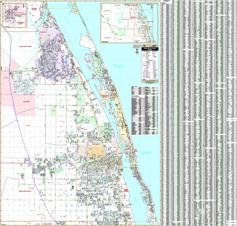 Indian River County, Florida Wall Map
