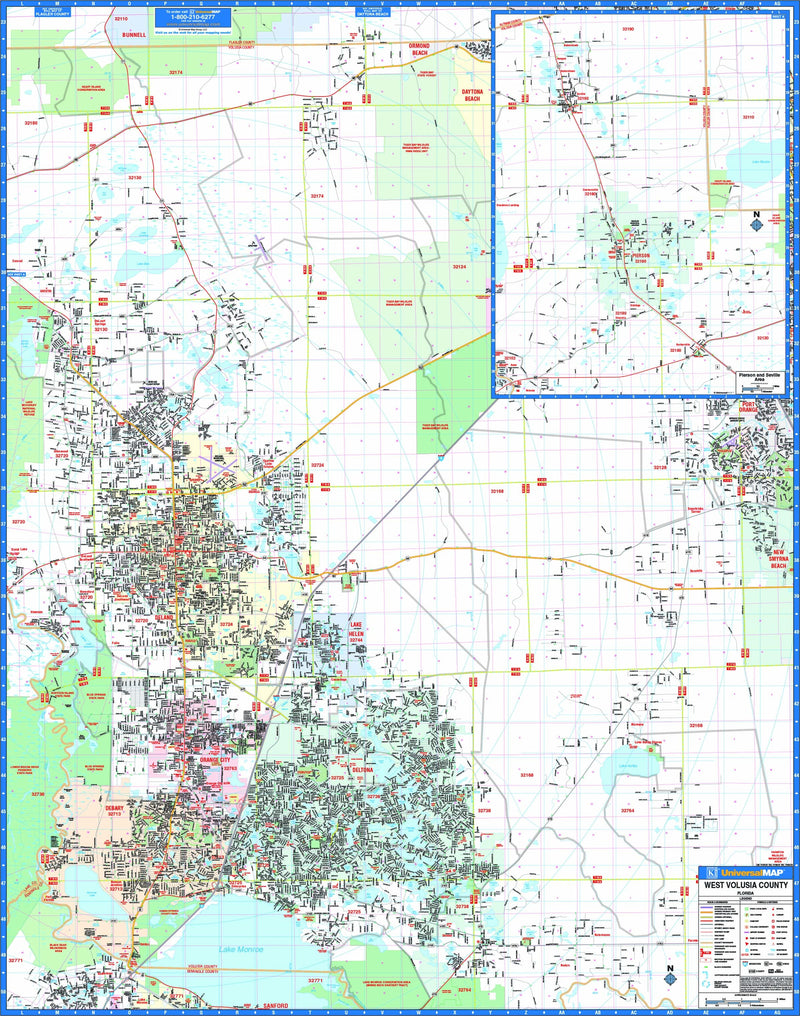 West Volusia County, FL Wall Map