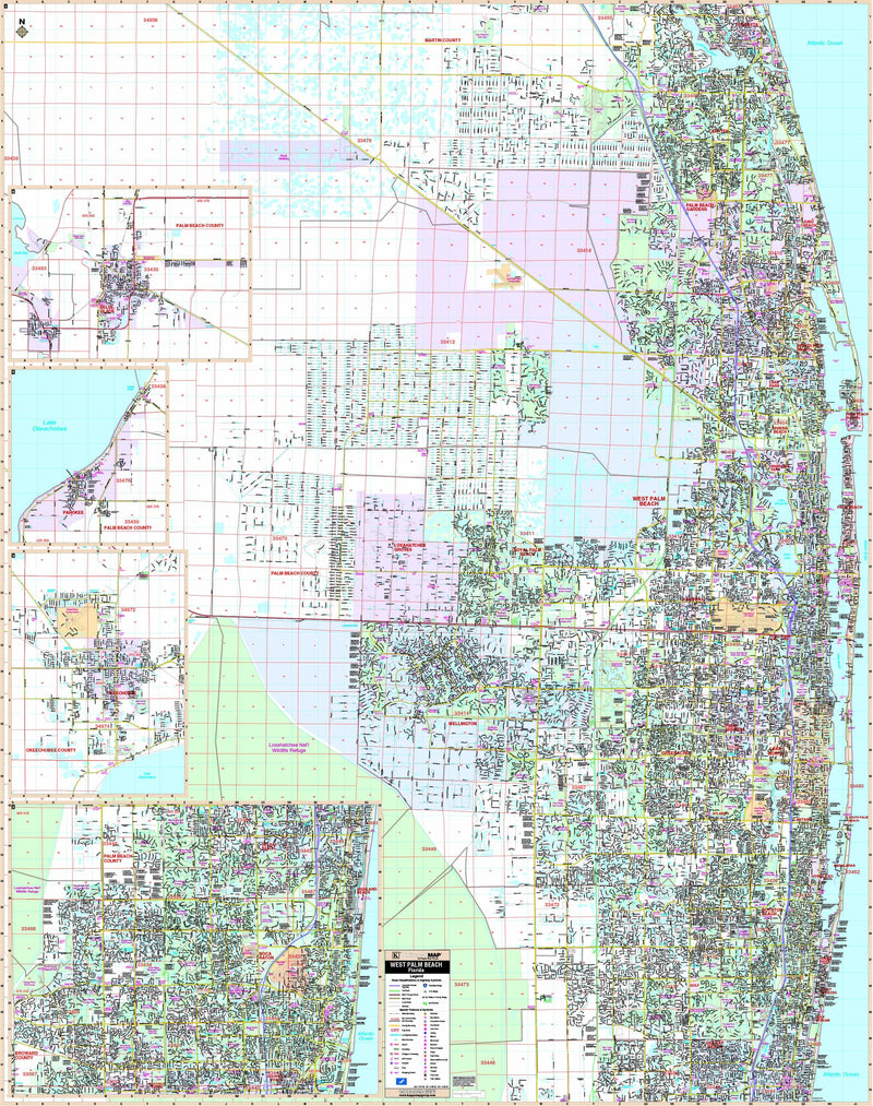 West Palm Beach & Palm Beach Co, FL Wall Map