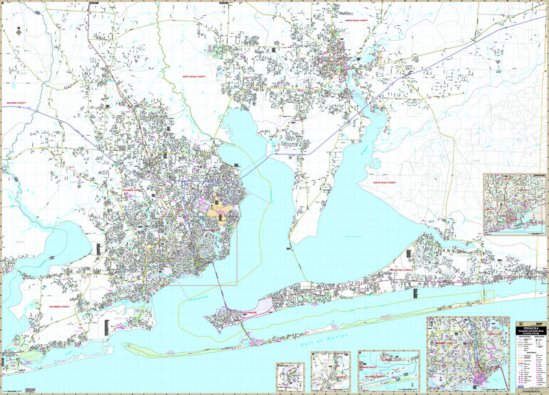 Pensacola & Milton, FL Wall Map