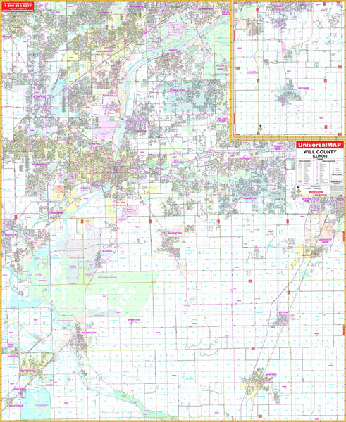 Will County, IL Wall Map