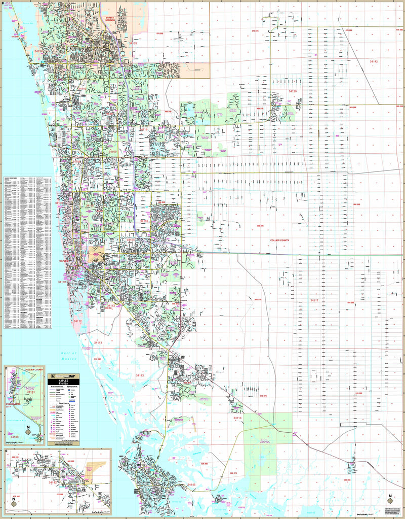 Naples & Collier Co, FL Wall Map
