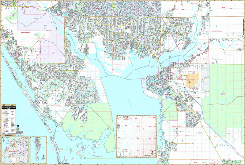 Port Charlotte and Charlotte Co, FL Wall Map