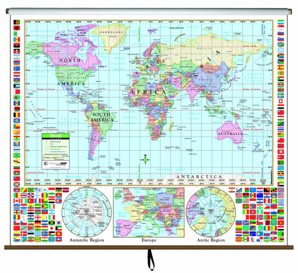 World Primary Classroom Wall Map on Roller
