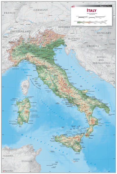 Italy Physical Wall Map
