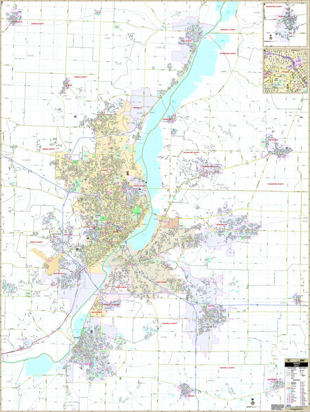 Peoria, IL Wall Map