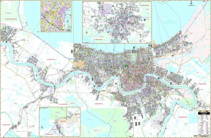 New Orleans LA Wall Map