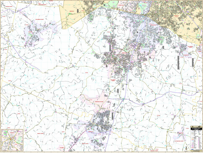Williamson County, TN Wall Map