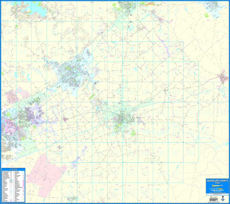 Guadalupe County, TX Wall Map
