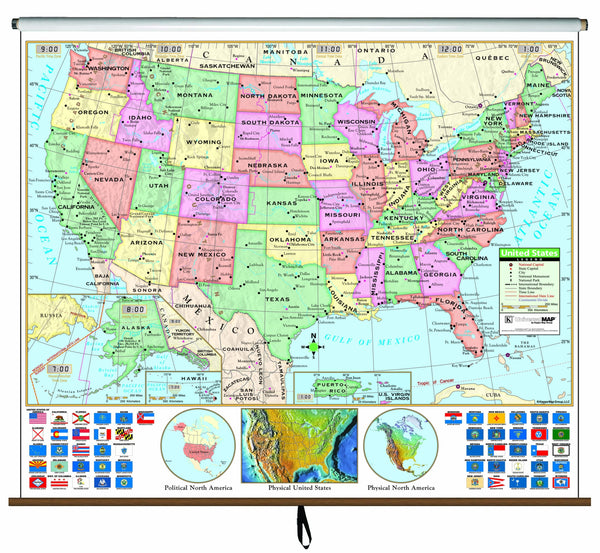 US Primary Classroom Wall Map on Roller