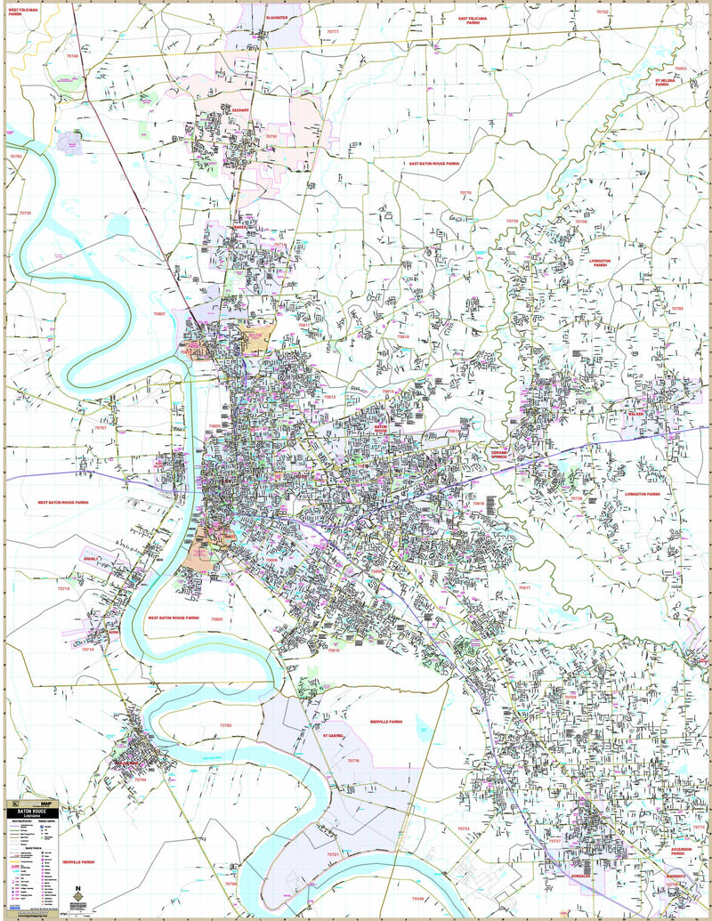 Baton Rouge, LA Wall Map