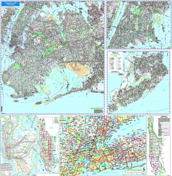 New York City, NY 5 Boroughs Wall Map
