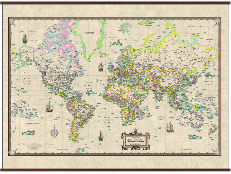 World Antique-Look Wall Map