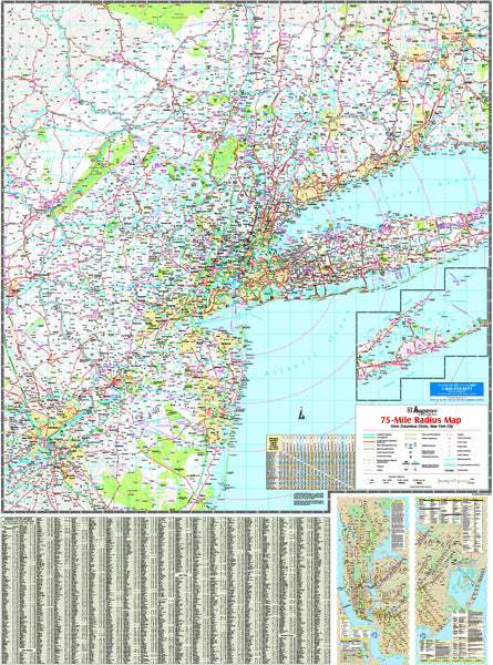 New York Tri-State Vicinity Wall Map