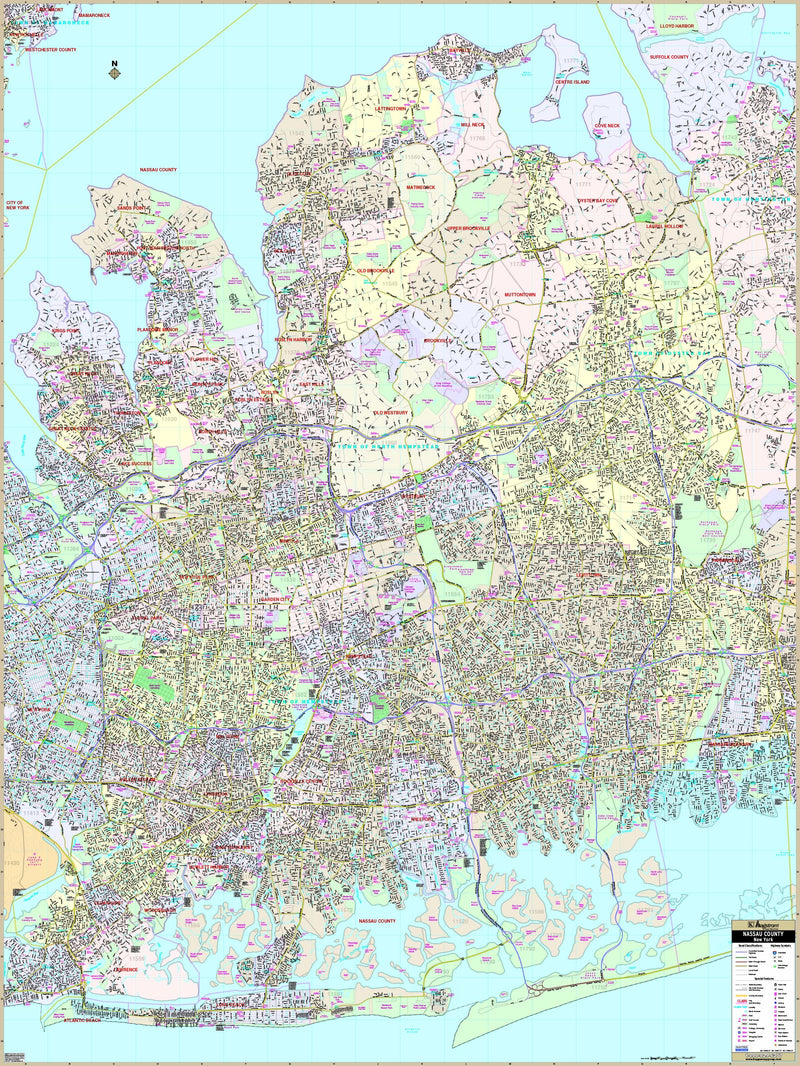 Nassau County, NY Wall Map